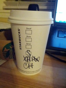 The aforementioned tall-extra-hot-no-water-soy-chai-latte.  Jeremy's drink of choice.